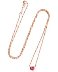 Anita Ko - Heart 18-karat Rose Gold Ruby Necklace - Lyst