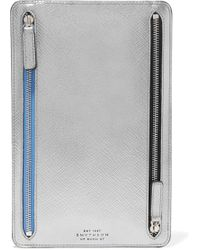 Smythson - Panama Metallic Textured-leather Wallet - Lyst