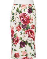 Dolce & Gabbana - Jupe Midi En Cady à Imprimé Fleuri - Lyst