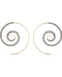 Noor Fares - Spiral Moon 18-karat Gold Diamond And Pearl Earrings - Lyst
