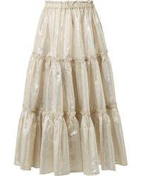 Lisa Marie Fernandez - Tiered Cotton-blend Lamé Midi Skirt - Lyst