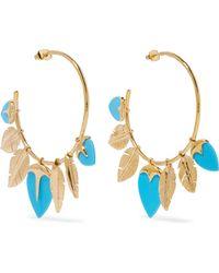 Aurelie Bidermann | Talitha Gold-plated Turquoise Hoop Earrings | Lyst