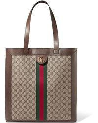 Gucci - Ophidia Gg Leather-trimmed Printed Coated-canvas Tote - Lyst