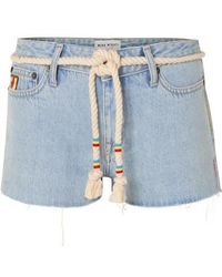 Mira Mikati - Belted Embroidered Denim Shorts - Lyst