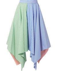 MDS Stripes - Asymmetric Striped Cotton-poplin Skirt - Lyst