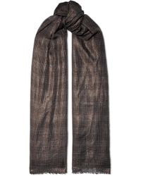 Brunello Cucinelli - Metallic Checked Cashmere-blend Scarf - Lyst