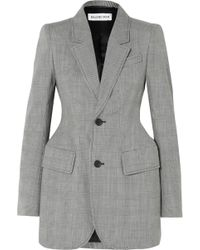 Balenciaga - Hourglass Prince Of Wales Checked Wool-blend Blazer - Lyst