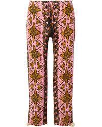Figue | Goa Cropped Printed Silk Crepe De Chine Straight-leg Pants | Lyst