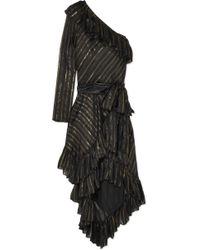 Philosophy Di Lorenzo Serafini - One-shoulder Metallic Striped Silk-blend Dress - Lyst