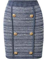 Balmain - Jersey-trimmed Button-embellished Tweed Mini Skirt - Lyst