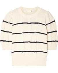 Veronica Beard - Moss Striped Cable-knit Cotton Sweater - Lyst