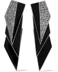 Saint Laurent - Smoking Silver-tone, Enamel And Crystal Clip Earrings - Lyst