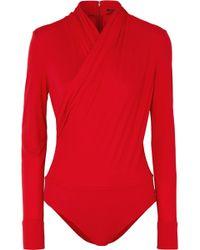 Versace - Wrap-effect Crepe Bodysuit - Lyst
