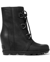 Sorel - Joan Of Arctic Wedge Ii Waterproof Leather And Rubber Ankle Boots - Lyst