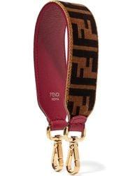 Fendi - Printed Velvet And Leather Bag Strap - Lyst
