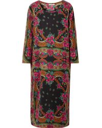 Mes Demoiselles - Floral-print Cotton-blend Twill Midi Dress - Lyst