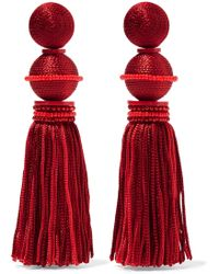 Oscar de la Renta | Tasselled Beaded Silk Clip Earrings | Lyst