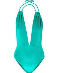 Fendi - Panama Stretch-velvet Halterneck Swimsuit - Lyst