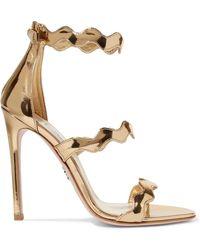 Prada - Scalloped Metallic Leather Sandals - Lyst
