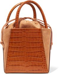Trademark - Dorthea Box Croc-effect Leather And Suede Tote - Lyst