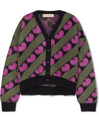 Marni - Intarsia Knitted Cardigan - Lyst