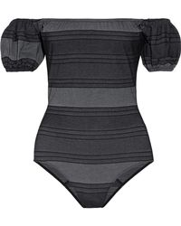 Lisa Marie Fernandez - Leandra Off-the-shoulder Striped Cotton-blend Denim Swimsuit - Lyst