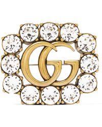 Gucci - Goldfarbene Brosche Mit Kristallen - Lyst