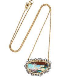 Kimberly Mcdonald - 18-karat Blackened Gold, Opal And Diamond Necklace Gold One Size - Lyst