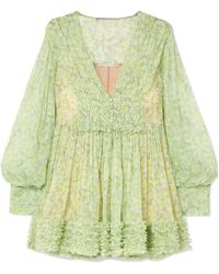 Stella McCartney - Ruffled Floral-print Silk-crepon Mini Dress - Lyst