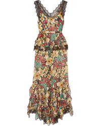 Rodarte - Lace-trimmed Ruffled Floral-print Silk-satin Jumpsuit - Lyst
