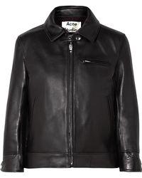 Acne Studios - Cropped Leather Biker Jacket - Lyst