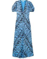 RIXO London - Tonya Printed Crepe Midi Dress - Lyst