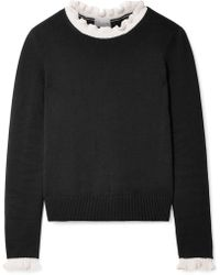 RED Valentino - Ruffle-trimmed Cotton Sweater - Lyst