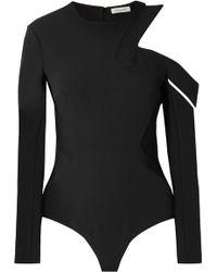 Mugler - Cutout Crepe Thong Bodysuit - Lyst