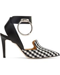 Monse - Embellished Leather And Gingham Twill Court Shoes - Lyst