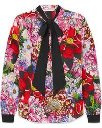 Mary Katrantzou - Pussy-bow Floral-print Silk Crepe De Chine Blouse - Lyst