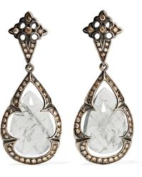 Loree Rodkin - 18-karat Rhodium White Gold, Sapphire And Diamond Earrings - Lyst