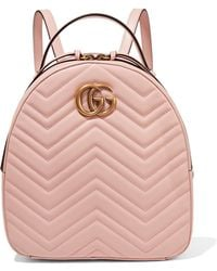 Lyst - Gucci Gg Marmont Quilted Leather Backpack in Pink 313ab99514