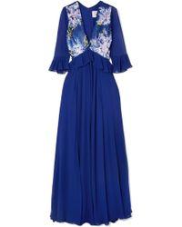 Carolina Herrera - Sequin-paneled Silk-georgette Gown - Lyst