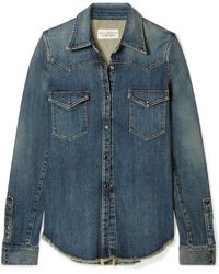 Nili Lotan - Travis Frayed Denim Shirt - Lyst