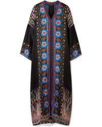 Etro - Embroidered Printed Silk-satin Kaftan - Lyst