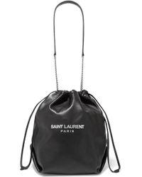 Saint Laurent - Teddy Printed Leather Bucket Bag - Lyst