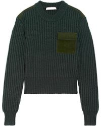 Dion Lee - Suede-trimmed Wool And Cashmere-blend Sweater - Lyst