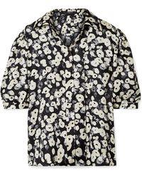 Derek Lam - Short Puff-sleeve Floral-print Silk Shirt - Lyst