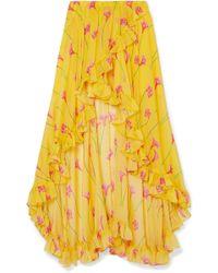 Caroline Constas - Adelle Asymmetric Ruffled Floral-print Silk-chiffon Skirt - Lyst