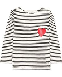Chinti & Parker - Printed Striped Organic Cotton-jersey Top - Lyst