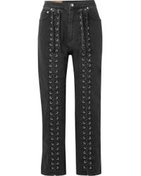 McQ - Lace-up High-rise Straight-leg Jeans - Lyst