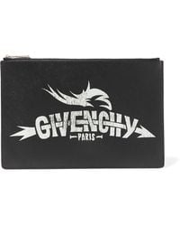 Givenchy - Printed Faux Textured-leather Pouch - Lyst