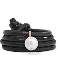 Mizuki - Bracelet Convertible En Cuir, Or 14 Carats Et Perle - Lyst