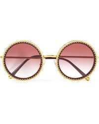 Dolce & Gabbana - Round-frame Acetate And Gold-tone Sunglasses - Lyst